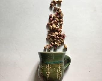 Bohemian Feather Green Rustic Pottery Mug