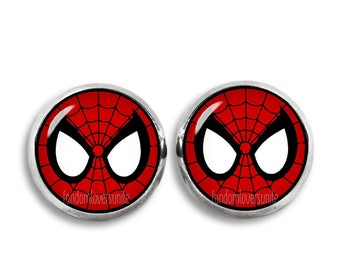 Spiderman Earrings Fandom Jewelry Spiderman mask Stud Earrings Fandom Jewelry Cosplay Fangirl Fanboy