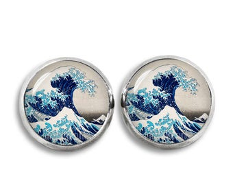 Hokusai Stud Earrings The Great Wave off Kanagawa 12 mm Stud Earrings Hokusai Jewelry