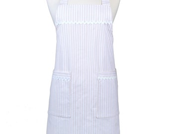 Japanese Crossover Farmhouse Cream and White Ticking Canvas Retro Pinafore Crossover Womens Kitchen Apron with Pockets