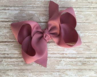 Mauve Boutique hair bow, hair bows, solid color hair bows, large hair bows, Thanksgiving hair bows, back to school hair bow, boutique bows