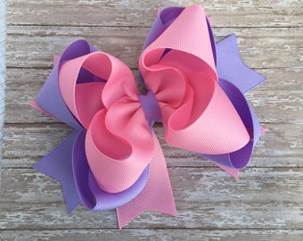 Double stacked hair bows, big hair bows, pink hair bows, lilac hair bows, valentines hair bows, double stack bows, lavender bows