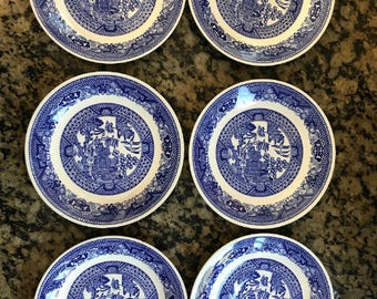 "Six (6) 6"" Willow Ware by Royal China Plates"