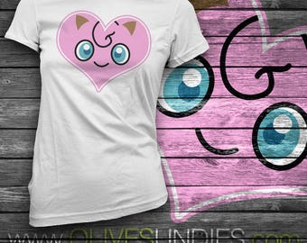 Jiggly Puff Pokemon Face and Tail T-Shirt
