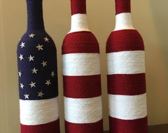 Patriotic Bottles, American Flag Decor, Red White and Blue Bottles, Bottle Set, Independace Day Decor, Patriotic Decor,