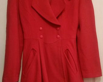 Vintage 80's Thierry Mugler Red Wool Coat Jacket S/M 38