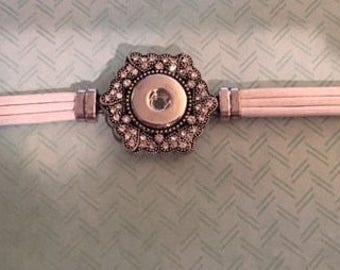 Clearance White Leather Interchangeable Snap Bracelet for Women