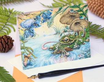 West coast card - 5x7 card - nature postcard - Frog art blank card - surreal frog -  tree frog painting - tree frog art - whimsical frog