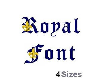 Royal Font - Machine Embroidery Font - 4 Sizes, Lettering, Alphabet, Font Set, Old English Font, Medieval Font