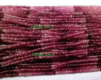"3.5mm Pink Tourmaline Shaded Faceted Beads AAA++ quality Natural Gemstone Faceted Rondelle Beads full 14"" strand Tourmaline Beads"
