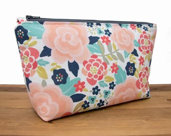 Floral Makeup Bag - Cosmetic Bag - Makeup Organizer - Make Up Bag - Bridesmaid Toiletry Bag - Zipper Pouch - Best Friend Gift for Her #73