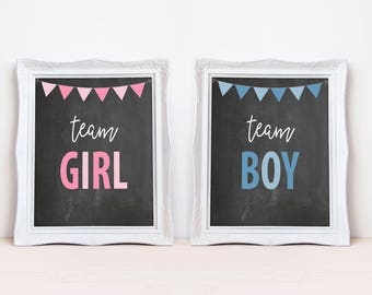 "Team Girl Team Boy 8""x10"" Printable Party Sign Set 