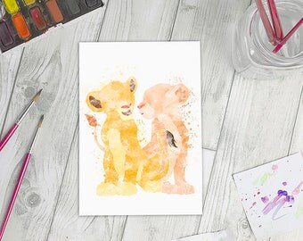 Disney Inspired Simba and Nala/Simba Watercolour A5 Print
