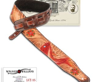 Walker & Williams LCT-15 100% Hand Made Leather Guitar Strap with Carved Red Koi