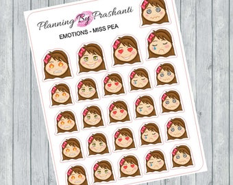 Emoticons Emotions Girls Faces Planner Stickers - For the Erin Condren Life Planner and Happy Planner