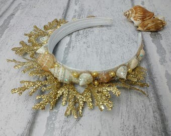 Gold mermaid crown, shell headdress, sea siren hair accessories, mermaid alice band, UK mermaids, seaweed, mermaid costume, beach party wear