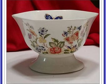 Vintage Aynsley Cottage Garden Hexagonal Footed Bowl
