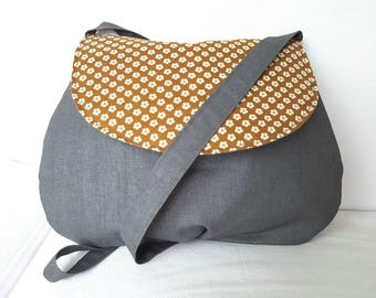 Small shoulder bag in grey and yellow Japanese fabric with small white flowers