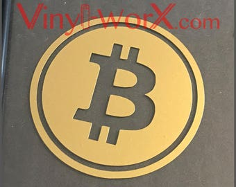 "Bitcoin BTC Coin Vinyl Decal Sticker Blockchain available in 2"" 3"" 4"" 5"" 6"" crypto miner cryptocurrency gifts"