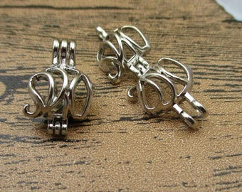 2 Elephant Charms,Locket Pendant, Cage for 8mm Pearls Or Gemstones,Antique Silver Tone-TS089