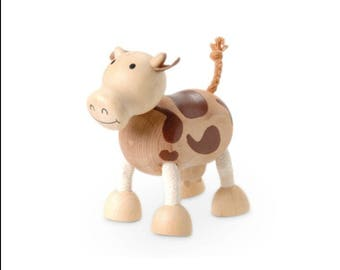 Sustainable wooden Cow toy