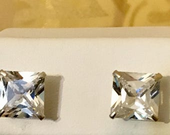 FREE Shipping USA- Sterling Silver Square CZ Earrings