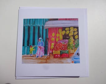 Fruit Shop, Addis Ababa- greeting card featuring a young girl and her mum playing outside on the street. From my original watercolour.