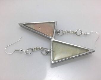 Sea Glass Drop Earrings - Translucent triangle Sterling Silver drop earrings by Jodee of Lucky Star Dreams