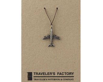 Traveler's Factory TF Charm Airplane pattern 07100026 Traveler's Notebook  Midori Designphil Material Tin Free Shipping