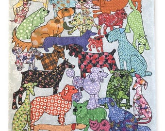 Dog tea towel, dishcloth, kitchen towel for dog lovers, dog design on kitchen textiles, home ware. MollyMac-Gift for dog loving friends