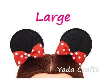 Disney Mickey Mouse Ears Minnie Mouse Ears Hair Clips with Bows Disneyland mini mouse ears Disney Party Birthday Favors Costume