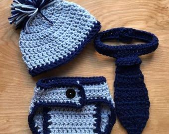 Crochet Hat & Tie prop