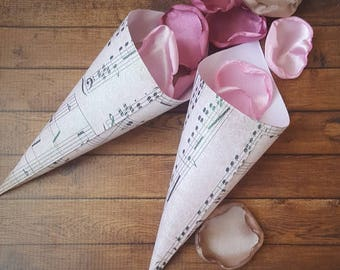 Music party, music party supplies, music party theme, music wedding, cones wedding, petal cones, cones for rose petals, petal cones wedding.