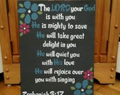 Mighty to Save, Zephaniah 3:17, Hanging Wall Sign, Scripture Wall Art, Wood Scripture Sign, Christian Home Decor, Bible Verse Sign
