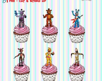 24 x Five Nights At Freddys Stand-Up Pre-Cut Wafer Paper Cupcake Toppers
