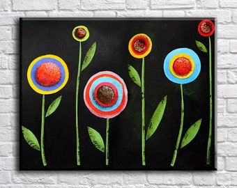 Flower paintng, Art Print on Canvas, Large  Wall Art , Living Room Decor, Extra Large Canvas Art, Interior Art, Flower Art