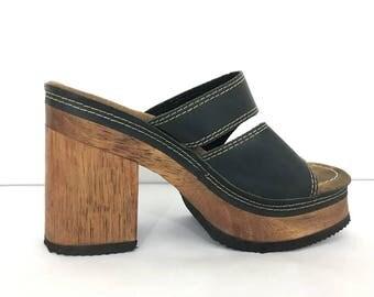 Sandals Women Soft Grunge Shoes - Vintage Candies Shoes - Black Leather Wood Heel Heeled Chunky Platform Sandals - Boho Leather Sandal
