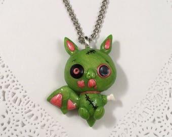 Creepy Cute Zombie Bat Pendant  Necklace
