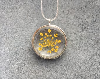 Mustard Yellow Queen Anne's Lace in clear resin Silver Plated Open Back Bezel Pendant Necklace, Resin Jewelry, Pressed Flower, Christmas