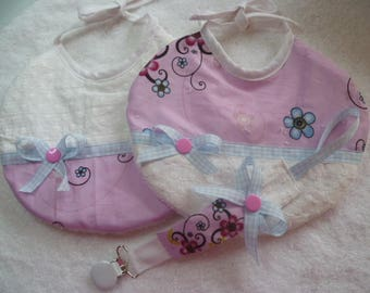 "lot 2 bibs ""ptits inverted"" a tie with matching pacifier clip"