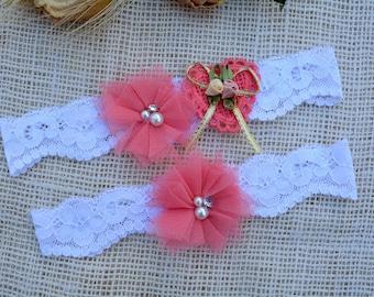 Custom Garter, Wedding Garter, White Garter, Lace Garte Set, Bridal Garter, Weddig Garter, Bridal Garter Set, Handmade Garter, Coral Garter