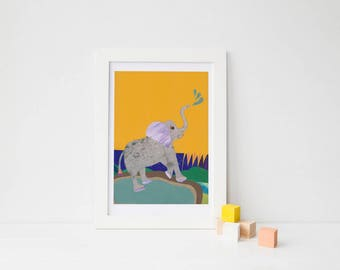 ORIGINAL ARTWORK, Elephant Nursery, baby boy nursery, Jungle Nursery, Gift for baby, baby room decor, yellow nursery art, elephant wall art