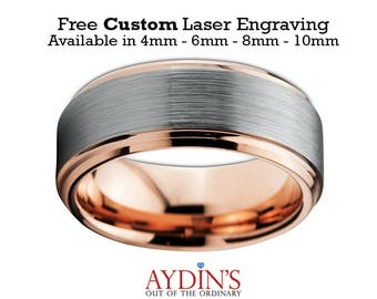 Mens and Womens Tungsten Wedding Band Ring 8mm Comfort Fit 18K Rose Gold Beveled Edge Brushed and Polished