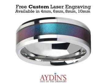 Tungsten Blue Purple Color Changing Inlay   Tungsten Wedding Band   Polished Finish   4mm   6mm   8mm   10mm   Tungsten Wedding Ring