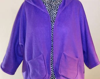 Lavender Hooded Open Cardigan One Size