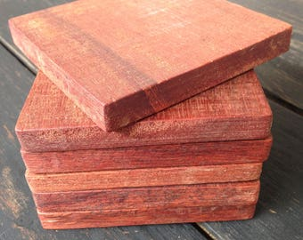 Set of 6 x Solid Hardwood Coasters Hand Made Recycled Timber Drinks Coaster