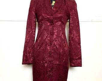 SALE VTG 80s Red Satin Mini Dress