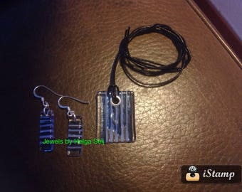neckless and earrings Stripes handmade glass and silver (925)