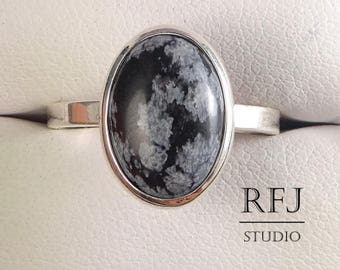 Genuine Snow Flake Obsidian Oval Silver Ring, Sterling Natural Obsidian Jewelry, Cabochon Ring, 14x10mm Cabochon Ring Snow Flake Obsidian