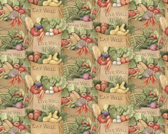 "Vegetable Fabric, Fruit Fabric: Carol's Corner Market Fresh Produce in Brown Bag 100% cotton fabric by the yard 36""x43"" (SC178)"